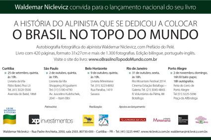 Convite para o lançamento do livro O Brasil no Topo do Mundo